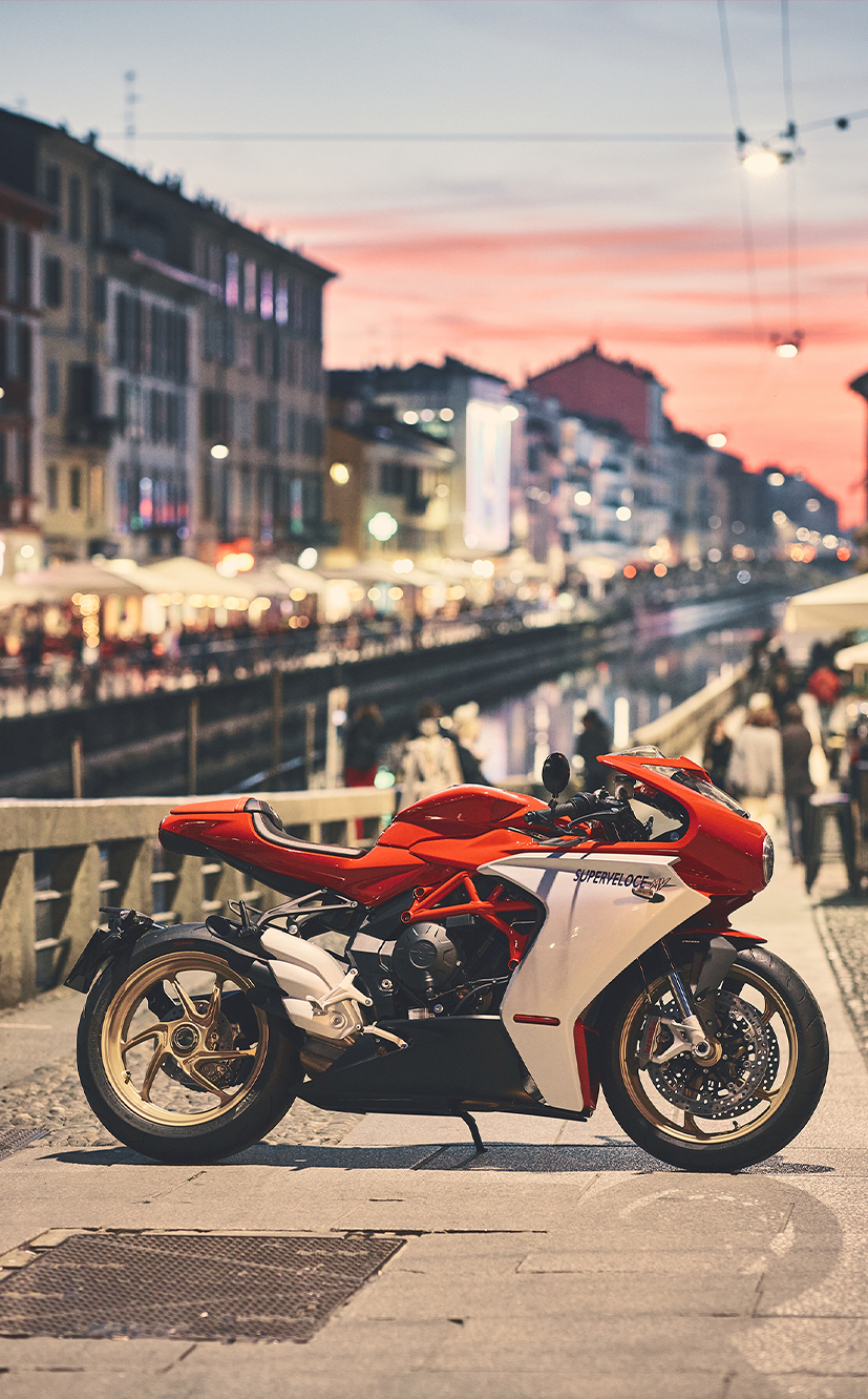 mv agusta super veloce 800 motorcycle parked in the streets of venice for mobile devices